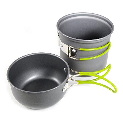 2 teiliges Camping-Geschirr / Topf-Set aus leichtem und rostfreiem, eloxiertem Aluminium, Das Outdoor-Kochset besteht aus 2 Töpfen, ideal für 1-2 Personen, Geschirr-Set ideal als Outdoorausrüstung mit praktischen Kunststoff-Haltegriffen, Marke: GanzoO