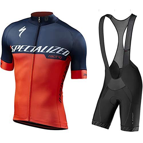 W&TT Conjunto de Jersey de Ciclismo para Hombre Camisa de Manga Corta Transpirable de Malla de Secado rápido para Bicicleta + Culotte con Babero Acolchado con Gel 3D,E,M