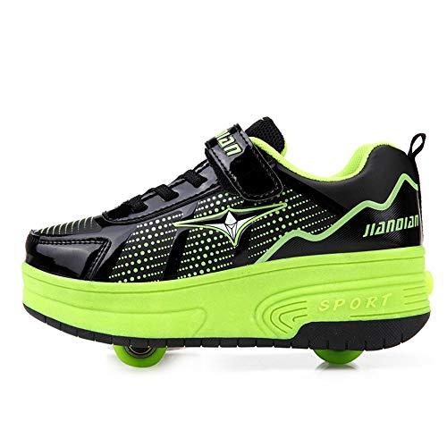 WXBYDX Schuhe Mit Rollen Automatisch Einziehbar 2 Räder Skateboardschuhe , Laufschuhe Mit Automatisch Verstellbares Räder Geeignet Für Erwachsene Und Kinder, Outdoor Fitnessschuheblack green-34