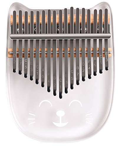 Flybiz Kalimba 17 Teclas Thumb Piano, Transparente Material Acrilico Dedo Percussion, Música Finger piano Kalimbas para Niños Principiantes Adultos Cumpleaños Idea de Navidad, con Bolsa de Tra