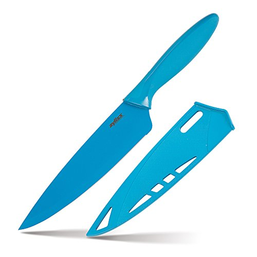 ZYLISS Chef's Knife with Sheath Cover, 7.5-Inch Non-Stick Stainless Steel Blade, Blue