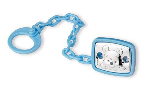 Disney Baby - Winnie The Pooh - Clip Ciuccio e Catenella Portaciuccio con dettagli in Argento - ideale come regalo per nascita neonato o battesimo