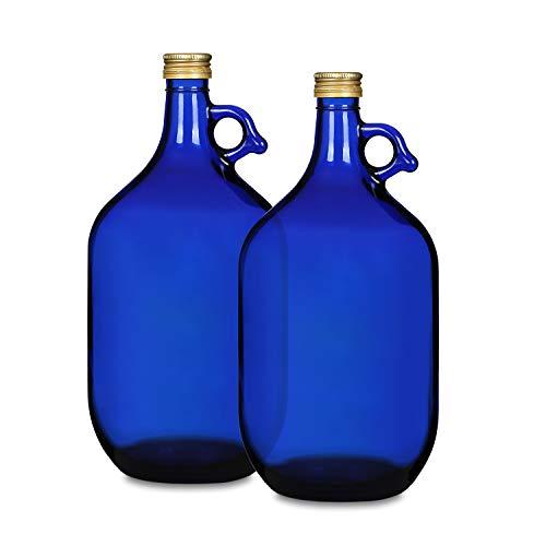 Die Elegante, Feste, Blaue 3 Liter Glasflasche mit Handgriff und Schraubverschluss. Tinktur/Wein/Wasser/Öl Flasche (2 x 3l)