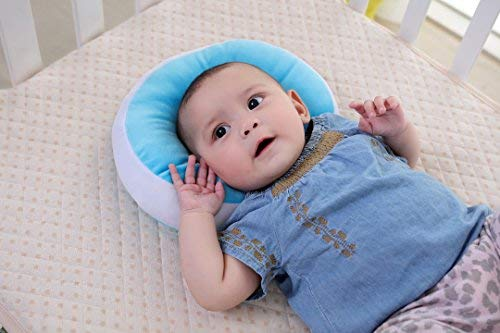 KAKIBLIN Anti Flat Head Baby Pillow, Head Shaping Pillow for Infants Soft Head Support Pillow for 0-1 Year Old, Blue