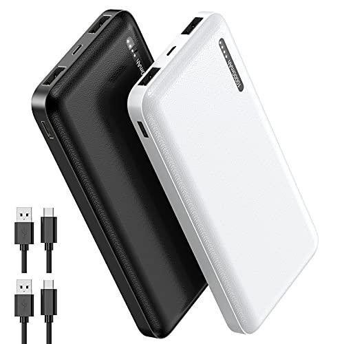 【2 Pack】 EVARY Batería Externa Power Bank 10000mAh, 【18W PD QC 3.0 Carga rápida】 Cargador Portátil Móvil con 3 Puertos Salidas de Alta Velocidad y LED, Compatible con Samsung Huawei Xiaomi Nintendo