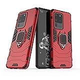 LuluMain Kompatibel mit Samsung Galaxy S20 Ultra, Galaxy S20Ultra 5G Hülle, Ring Ständer Magnetischer Handyhalter Auto Caseme Schutzhülle Case (Rot)