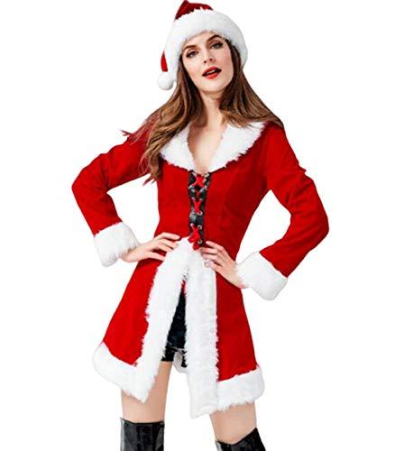 NANXCYR Kerst Jurk Cosplay Game Uniform Lange Mouw Jas Kerst Bar Party Kostuum Bundel Taille Broek Kleding