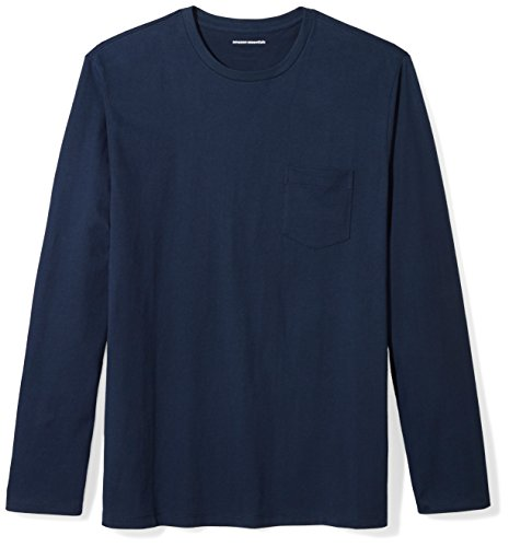 Amazon Essentials Regular-Fit Long-Sleeve Pocket T-Shirt, Blu Marino, 51-53