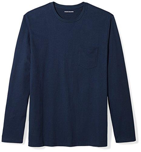 Amazon Essentials Regular-Fit Long-Sleeve T-Shirt Available Pocket Camiseta, Azul Marino, XL