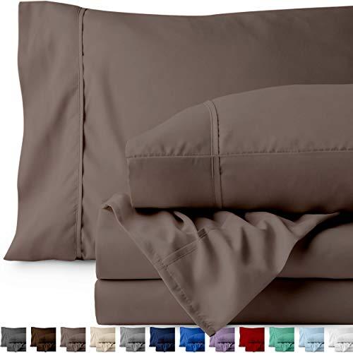 Bare Home Split King Sheet Set - 1800 Ultra-Soft Microfiber Bed Sheets - Double Brushed Breathable Bedding - Hypoallergenic – Wrinkle Resistant - Deep Pocket (Split King, Taupe)