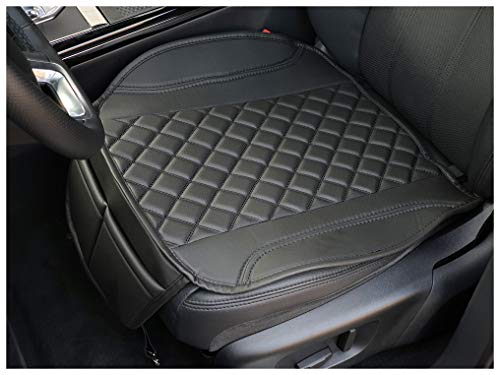Sitzauflage Kunstleder Schwarz mit Schwarzen Nähten passend für Opel Corsa F Sitzbezüge Auto Sitzauflage Sitzkissen OT404