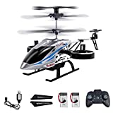 BOMPOW Remote Control Helicopters, RC Helicopter with Altitude Hold, One Key take Off/Landing, 4 Channel, Gyro Stabilizer and High &Low Speed, LED Light Flying Toy for Boys and Girls