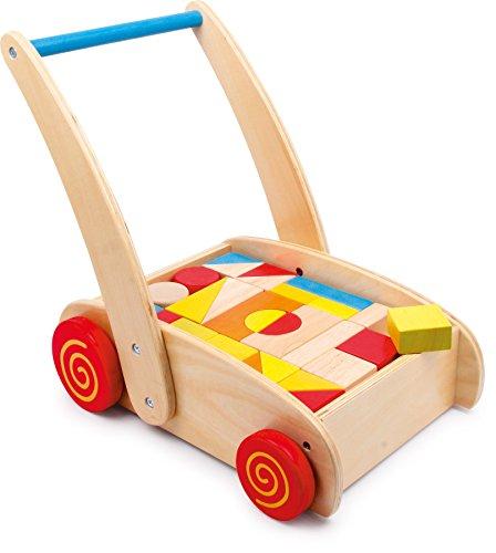 Small foot company small foot 2695 Lauflernwagen Bauklötze aus Holz, Motorikspielzeug für Farb- und Formverständnis, ab 12 Monaten Spielzeug