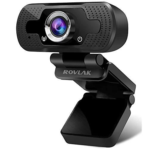 ROVLAK Webcam 1080P Webkamera mit Mikrofon Autofokus USB-Webcam mit Datenschutz Plug & Play Webkamera für Videokonferenzen 105°Weitwinkelkamera HD Webcam für PC, Laptop, Desktop, YouTube, Skype