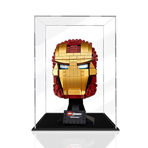 iCUANUTY Acryl Vitrine für Lego 76165 Iron Man Helm, Staubdichte Vitrine für Modelle Sammlerstücke (Nur Vitrine)
