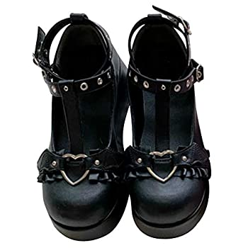 CELNEPHO Womens Mary Jane Shoes for Women Sweet Bow Round Toe Ankle T-Strap Lolita Goth Platform Dress Pumps Shoes Oxfords