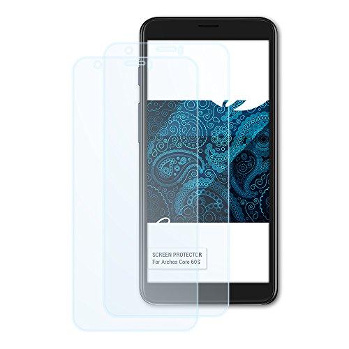 Bruni Schutzfolie kompatibel mit Archos Core 60S Folie, glasklare Bildschirmschutzfolie (2X)