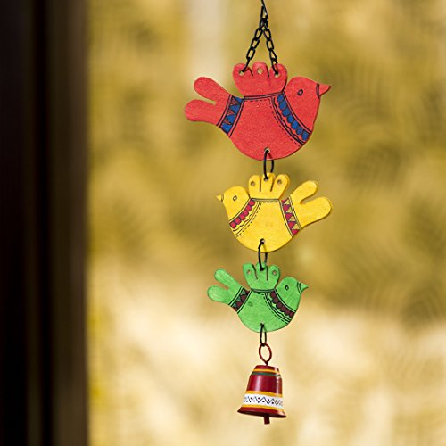 ExclusiveLane 'Birds and Bell' Garden Balcony Wall Decorative Hanging and Wind Chimes for Home with Good Sound (Metal and Wood, 1 Bell) (EL-015-059)