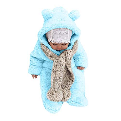 Pagliaccetti Bambino Bambina Caldo, Pigiami Invernale Orso Moda Bambini Pagliaccetto Pigiama Elegante Body Vestito Bimbo Neonati Tute Inverno Tuta Costume Cerimonia/Blu, 6-12 Mesi