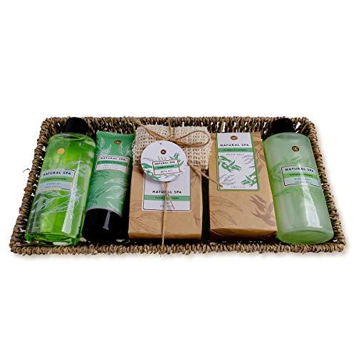 Accentra Set de baño y ducha Natural SPA, 7 piezas, set de belleza en cesta de algas marinas, set de regalo para mujeres en una cesta decorativa trenzada, 1,138 kg