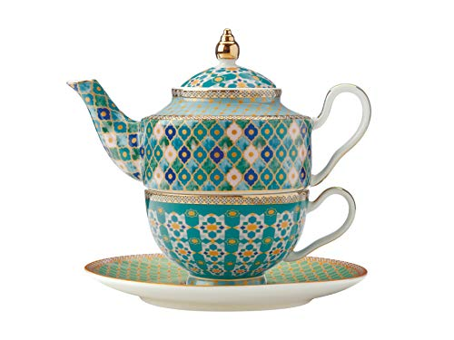 Maxwell & Williams Teas & C's Kasbah Tea For One Teiera e tazza Set con infusore in confezione regalo, porcellana, verde menta, 380 ml