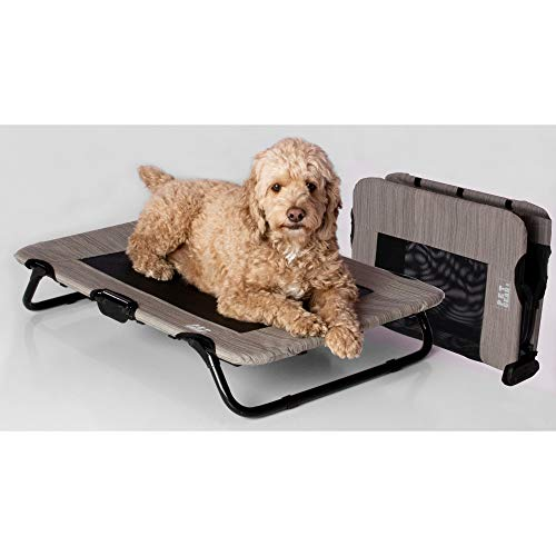 Pet Gear Lifestyle Pet Cot Elevated Bed | No Assembly Required | Premium Tear Resistant Cooling Mesh | Indoor & Outdoor | Lightweight & Portable 30', Harbor Grey