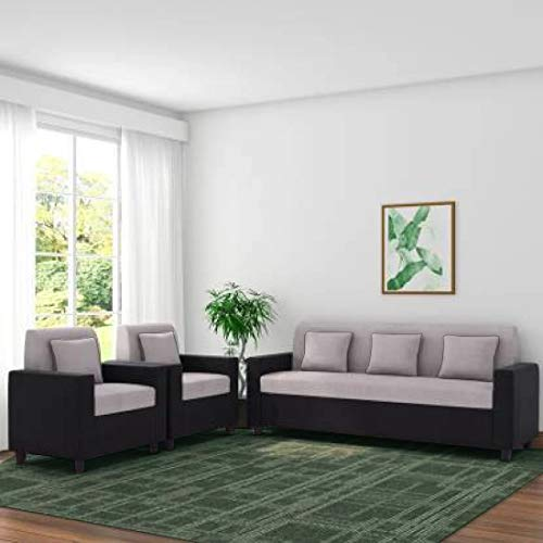 Furny Herostyle 5 Seater 3+1+1 Sofa Set (Grey-Black) with Spacious Design | 36 Density Foam Soft & Comfortable Sofa Set