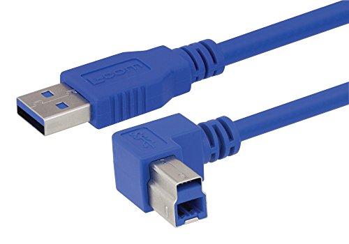 L-COM CA3A-90RB-05M USB Cable, USB Type A Plug, USB Type B Plug, 500 mm, 19.7 inch, USB 3.0, Blue