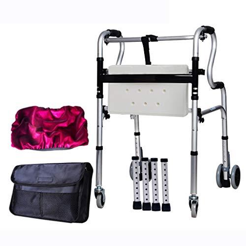 Silla de ruedas plegable de edad avanzada para Grandma Grandpa Gif Andador con ruedas plegable, andador ligero con ruedas de rehabilitación for discapacitados con asiento, altura ajustable con freno d