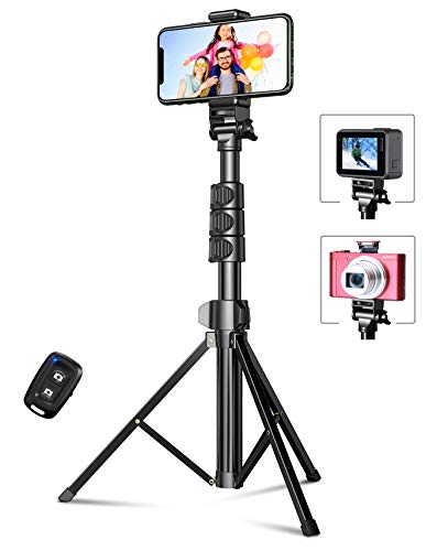 "Bcway Phone Tripod, 55.9"" Extendable Selfie Stick Tripod Bluetooth, All-in-One Travel Tripod with Remote, Compatible with iPhone 12 Pro Max/12 Pro/12/11 Pro Max/XS Max, Galaxy S20/S10, Camera, Gopro"