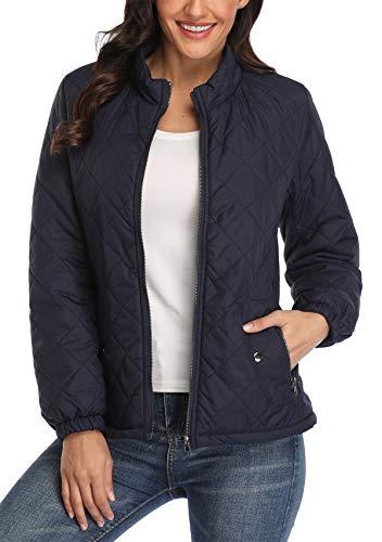 MISS MOLY Steppjacke Damen Leichte Jacke Übergangsjacke Gesteppte Jacke Herbst Winter Blau Large