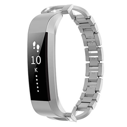 TiMOVO Correa Compatible con Fitbit Alta/Alta HR, Pulsera de Aleación de Metal con Incrustaciones de Diamantes Ajustable Respirable Compatible con Fitbit Alta/Alta HR - Plata