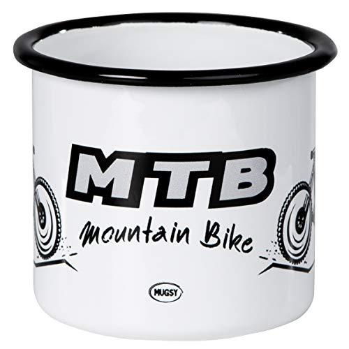 Mountainbike MTB | Trendiger Emaille Becher mit coolem Bike Design | leicht und robust | von MUGSY.de