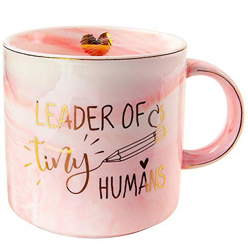 Vilight Teacher Appreciation Gifts for Women  Leader Of Tiny Humans Teacher Mug  Pink Marble Coffee Cup 11 Oz