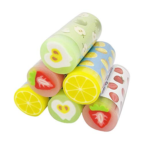 CrazyCharlie Fruit Pencil Erasers, 6pack Cute Erasers Cylindrical Shaped Kawaii Erasers for Kids Students