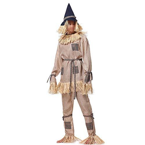 kMOoz Halloween Kostüm,Outfit Für Halloween Fasching Karneval Halloween Cosplay Horror Kostüm,Herren Wizard of Oz Scarecrow Bühnenkostüme Halloween-spielanzüge