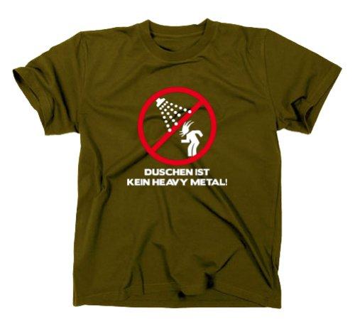 Duschen ist kein Heavy Metal Fun T-Shirt Wacken Festival Dixie Klo, S, Olive
