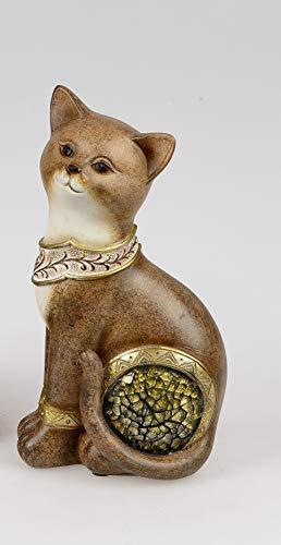 Formano Katze sort. 21cm, Antik-Mosaik, kunsthandwerkliche Deko-Figur aus Kunststein aufwendig gestaltet, antikfarben bemalt und mit goldenem Mosaik veredelt