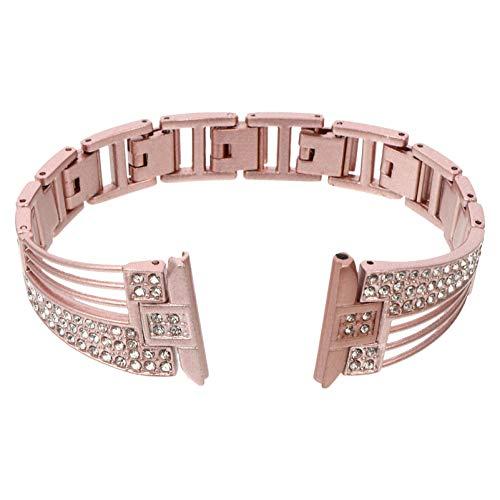 UKCOCO Correa de Reloj de Diamantes para Mujer Correa de Reloj Ajustable de Acero Inoxidable Correa de Reloj de Repuesto de Diamantes de Imitación con Hebilla Compatible con Fitbit Pink
