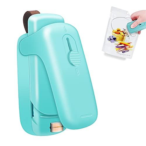 Mini Sealer, 2 in1 Sealer con Cortador Portátil Azul Mini sellador de Bolsas en Caliente para Bolsas de Plástico Bolsa de Alimentos(con Batería)