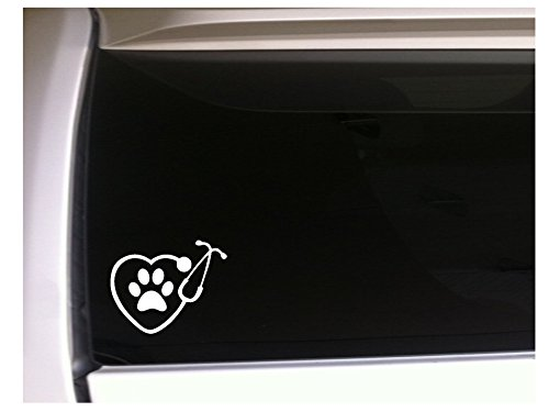Heart Stethoscope with Paw Print 6.5 Vinyl Sticker DecalL96 Pets Animals Love Breeder Puppies Canine Vet