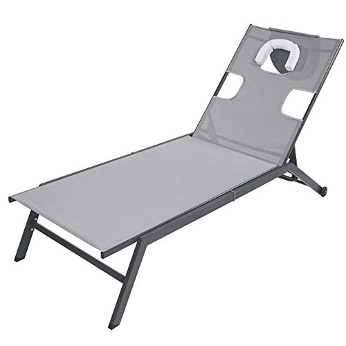 Sun Lounger with wheels, Garden Outdoor Reclining Chair with Head Pillow Reading Hole, Outdoor Leisure Chaise bed for Home Garden Poolside Patio Yard Deck (Gray)