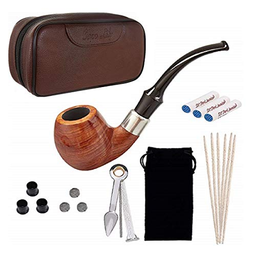 Tobacco Pipe Set, Pear Wood Smoking Pipe and Brown Pipe Pouch Kit with Smoking Accessories by Capo Lily