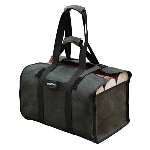 OK5STAR Large Firewood Carrier Waxed Canvas Log Tote Bag Indoor Fireplace Log Carrier Holders with Shoulder Strap and Handles, Wood Carrying Outdoor Birchwood Stand by Hearth Stove Tools Set Green