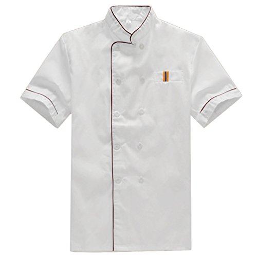 NiSengs Unisex Kochjacke Elegant Rote Kante Design Küchenkleidung Mit Tasche Kochkittel Zum Küche Kantine Hotel Weiß M