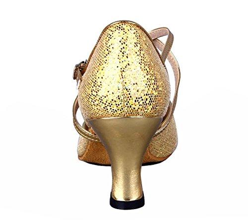 Honeystore Damen's Criss Cross Riemen Metallschnalle Tanzschuhe Gold 39.5 EU - 4