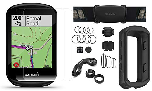 Garmin Edge 830 Cycle GPS Bundle | +Chest Strap HRM, Bluetooth Speed/Cadence Sensors, Silicone Case & Screen Protectors (x2) | Touchscreen, Mapping | Bike Computer (Black + Sensors)