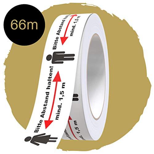 GD Klebeband Abstand Halten I Premium Aufkleber für Fußboden individuell kürzbar I Bodenaufkleber auf Rolle Länge 66 Meter (1 Rolle)