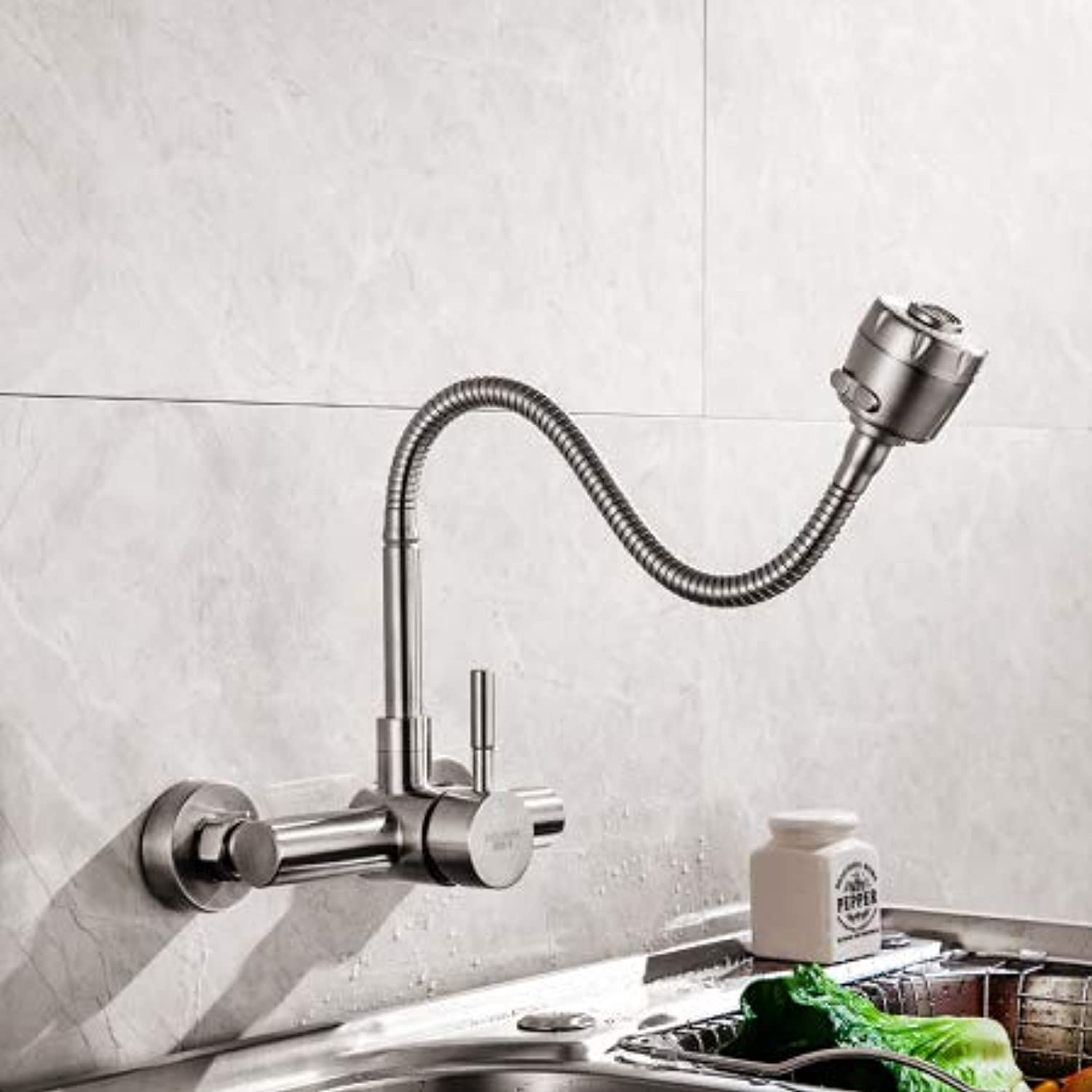 In-Wall Kitchen Faucet 304 Stainless Steel Sinks Hot and Cold Water Faucet Laundry Pool Sink Mixing Valve Wall Faucet