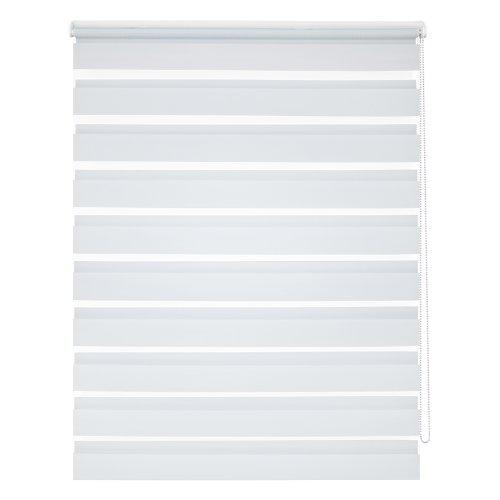 Doppelrollo: modernes Klemmrollo in Weiß, ohne Bohren - Klemmfix, 60 x 150 cm(B x L), Duo Rollo für Fenster
